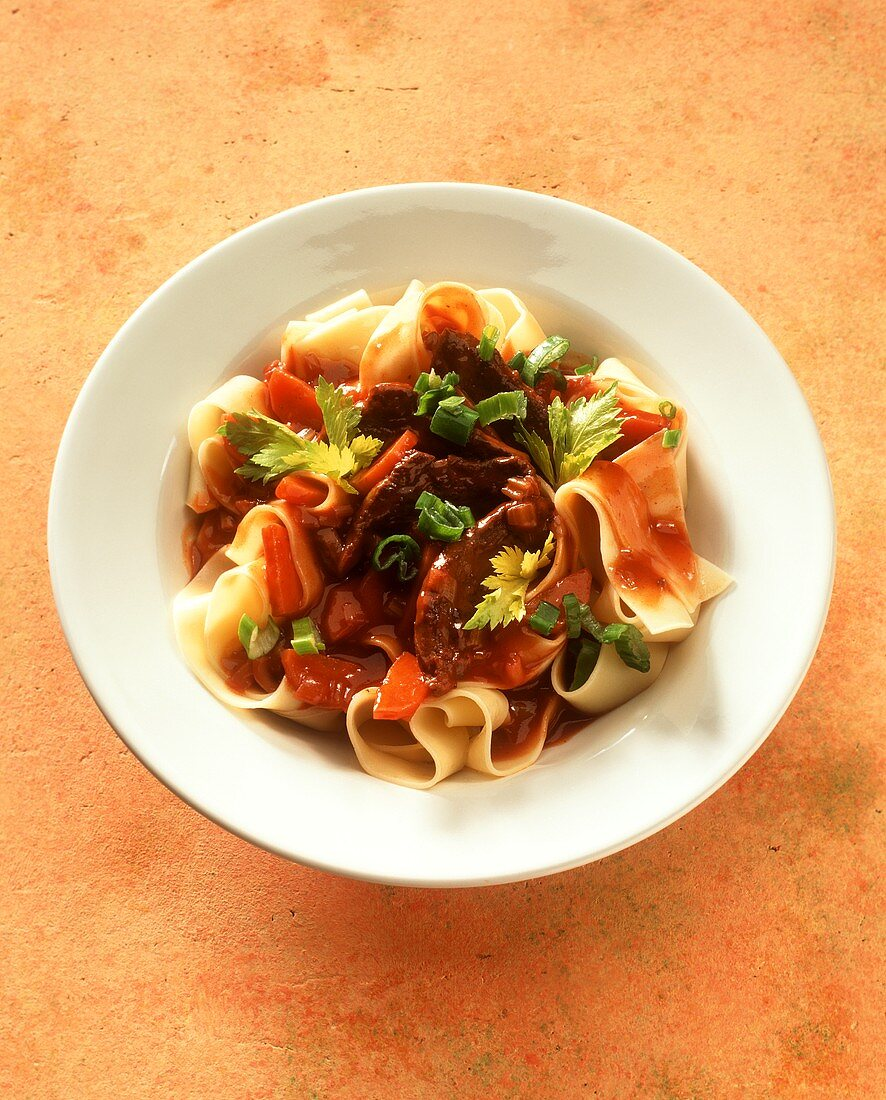 Pappardelle all'anatra (Ribbon pasta with duck ragout, Italy)