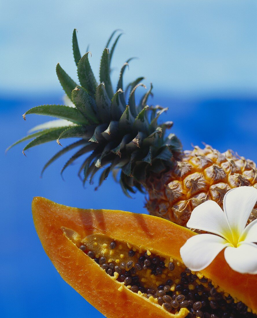 Papaya and pineapple against sea-blue background