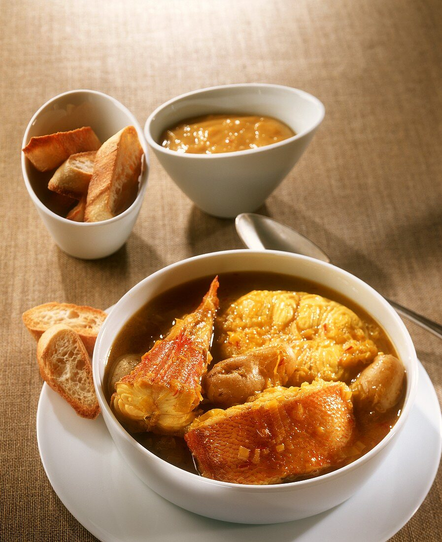 Bouillabaisse with rouille and baguette (Provence, France)