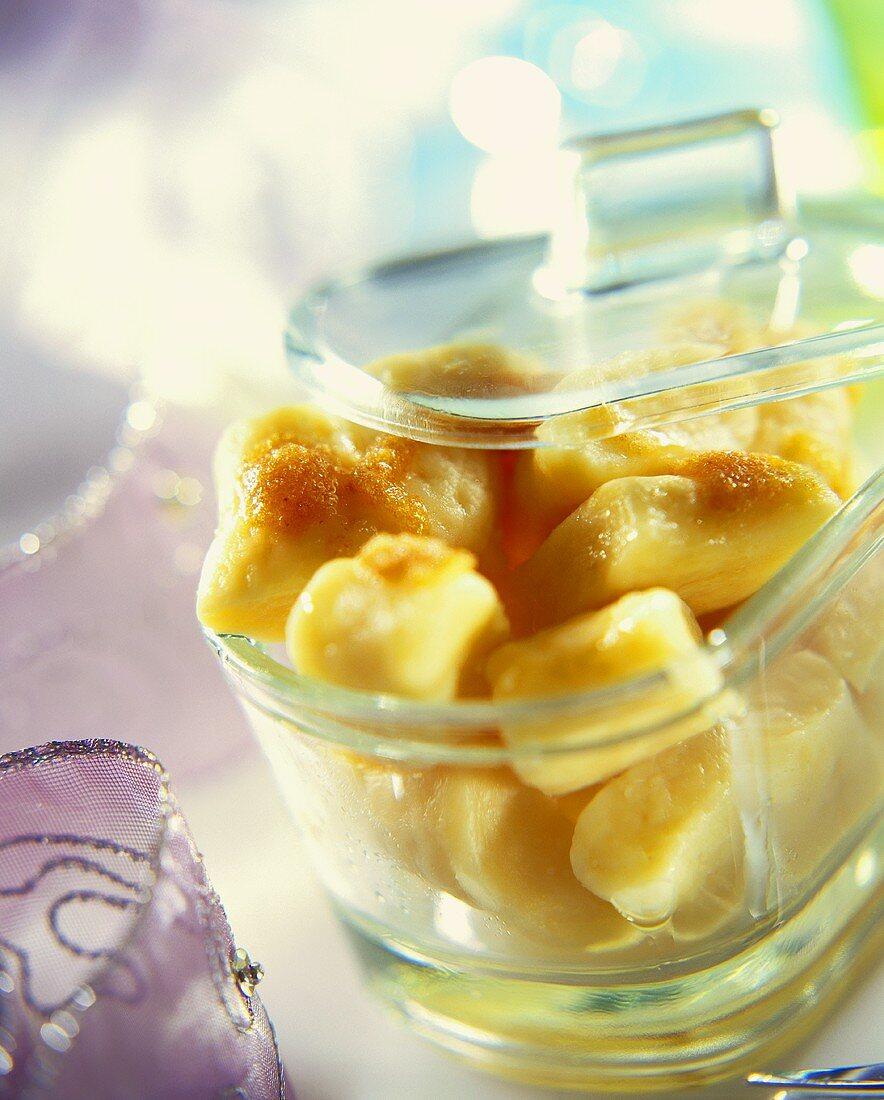 Pierogi leniwe (quark dumplings with cinnamon butter, Poland)