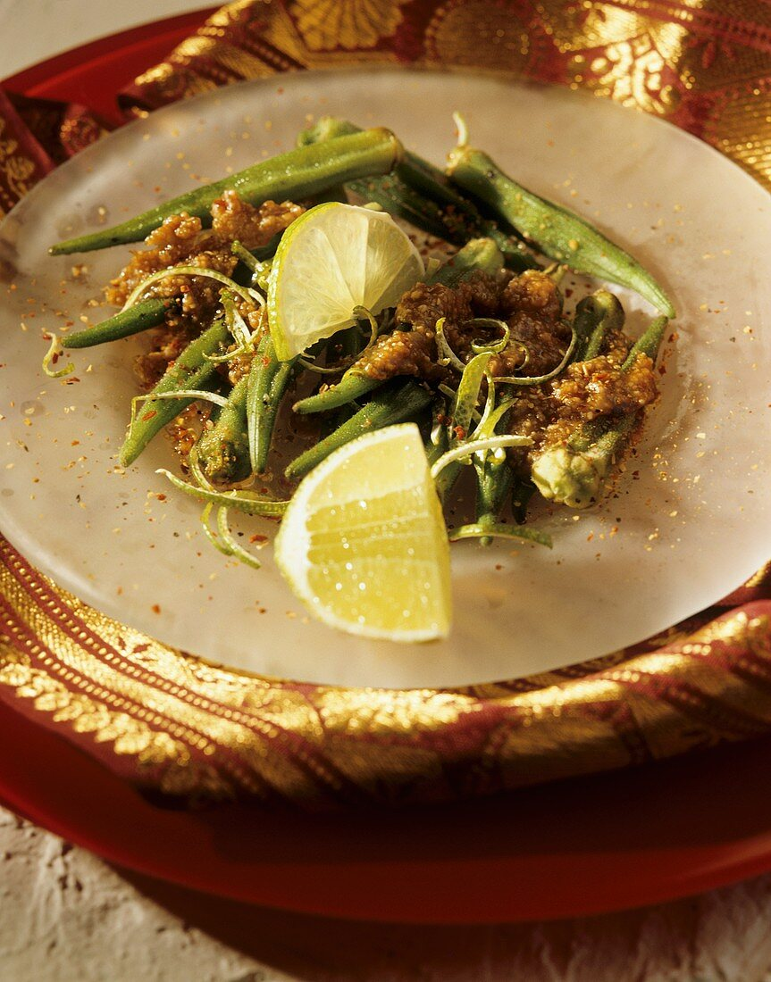 Sweet and sour okra pods with tamarind paste