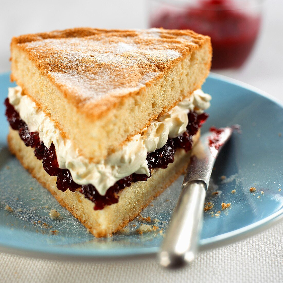 A piece of Victoria sponge (English sponge cake)