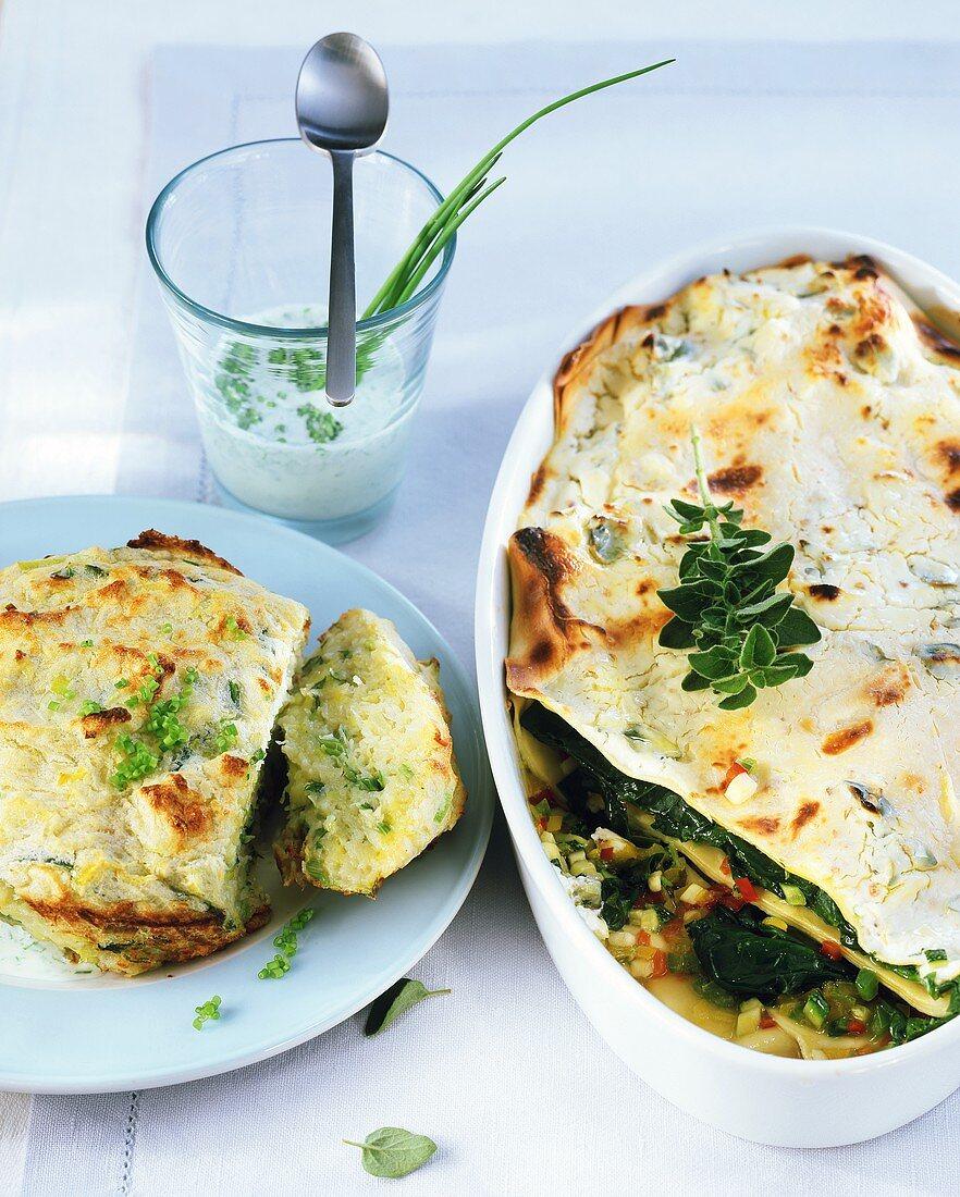 Leek and potato soufflé and vegetable lasagne