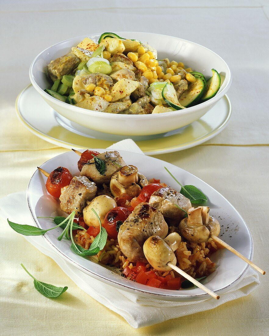 Pork and mushroom kebabs and pork ragout