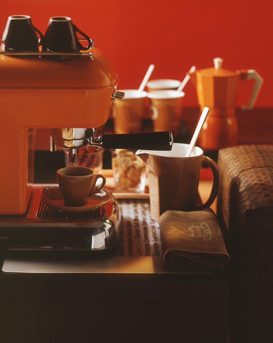 Espresso machine and a cup of espresso