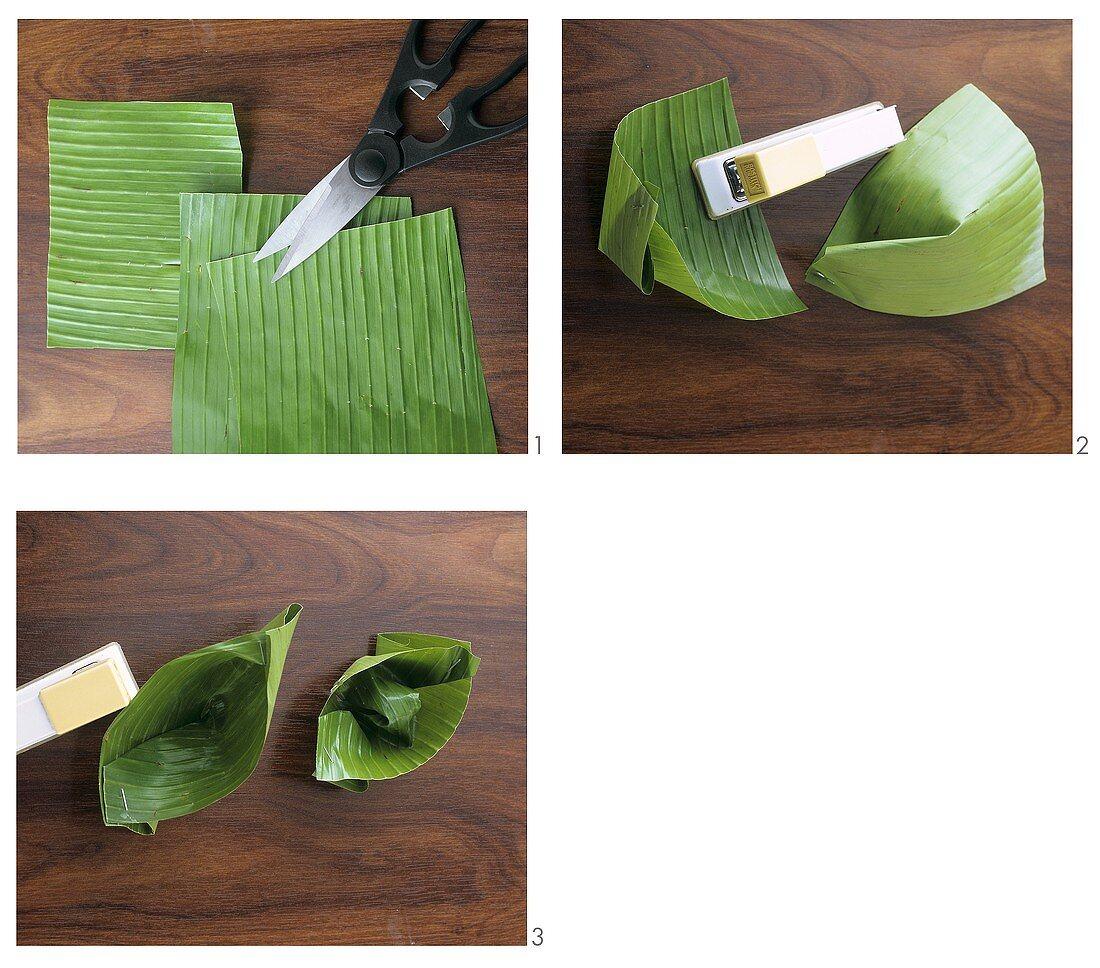 Making banana leaf boats
