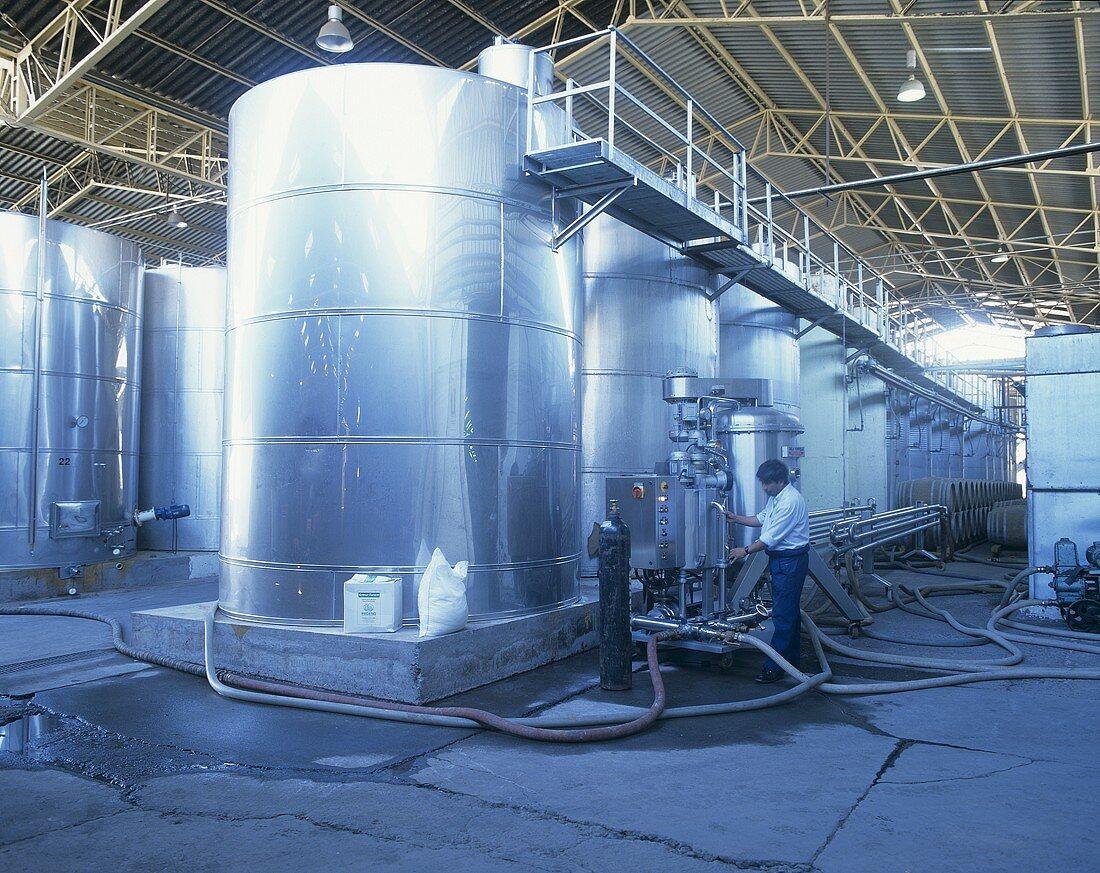 Wine tanks & filtering plant, Santa Rita, Maipo Valley, Chile