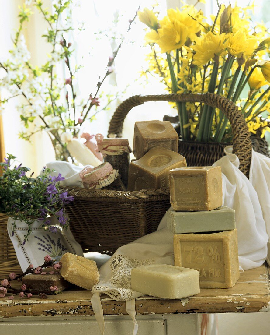Various blocks of soap for washing