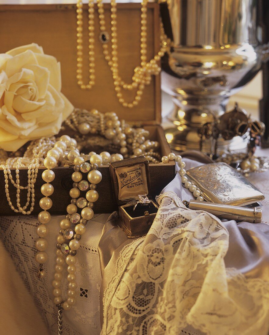 Still life with old jewellery box