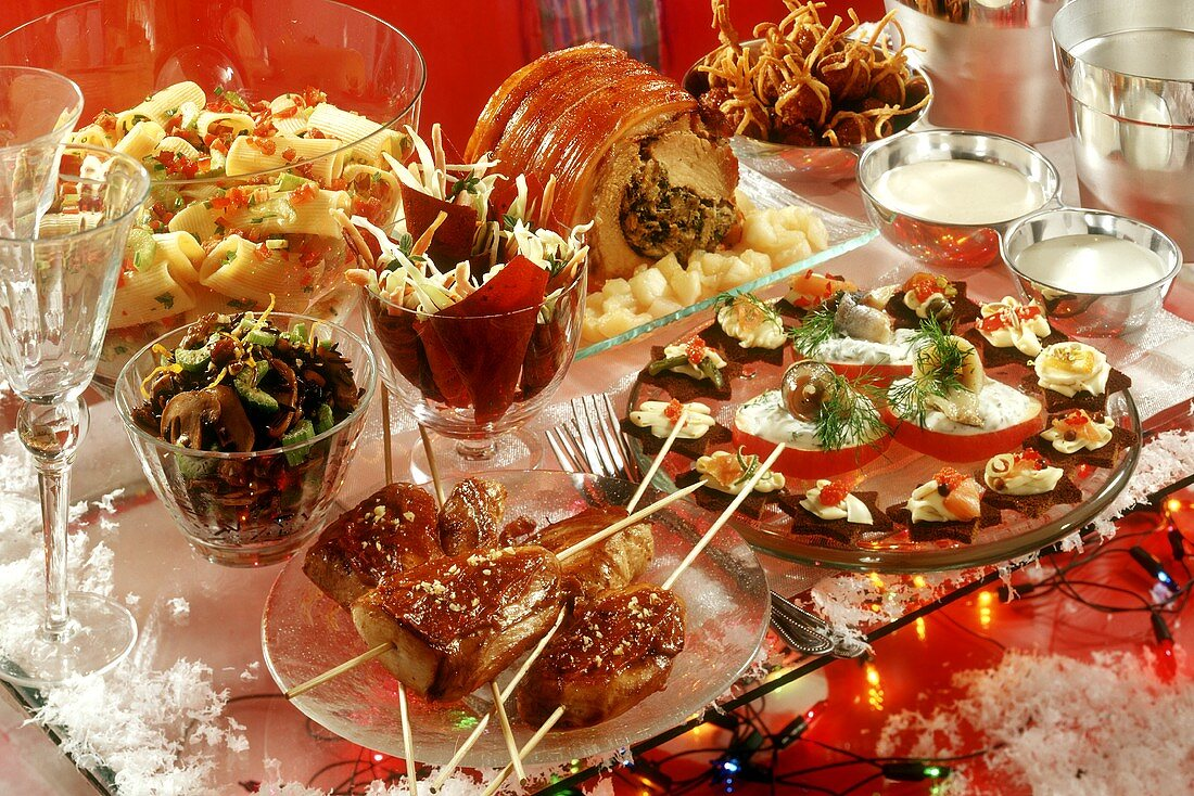 Winter party buffet with roast meat and snacks
