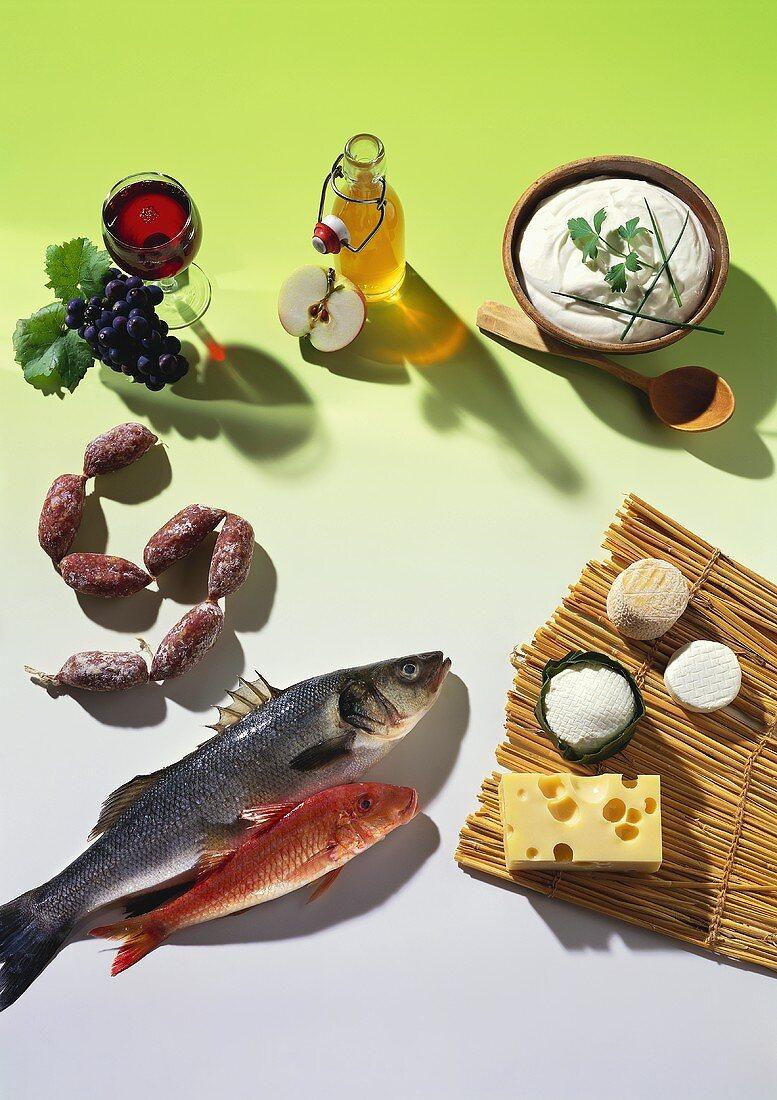 Still life of mixed foods