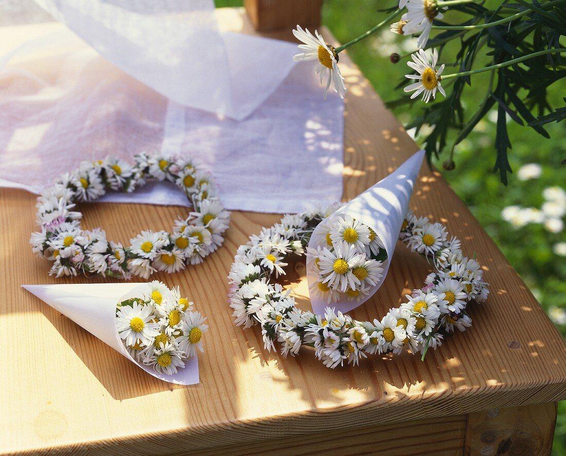 Daisy wreaths and posies