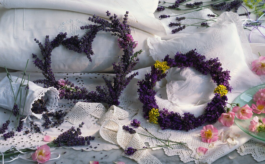 Fragrant lavender tied into a wreath and a heart
