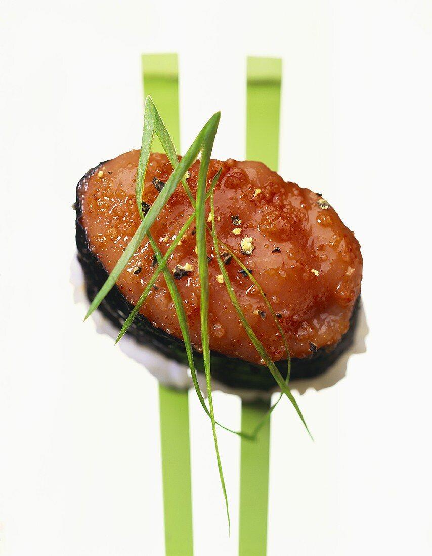 Uni-nigiri (sushi with sea urchin roe, Japan)