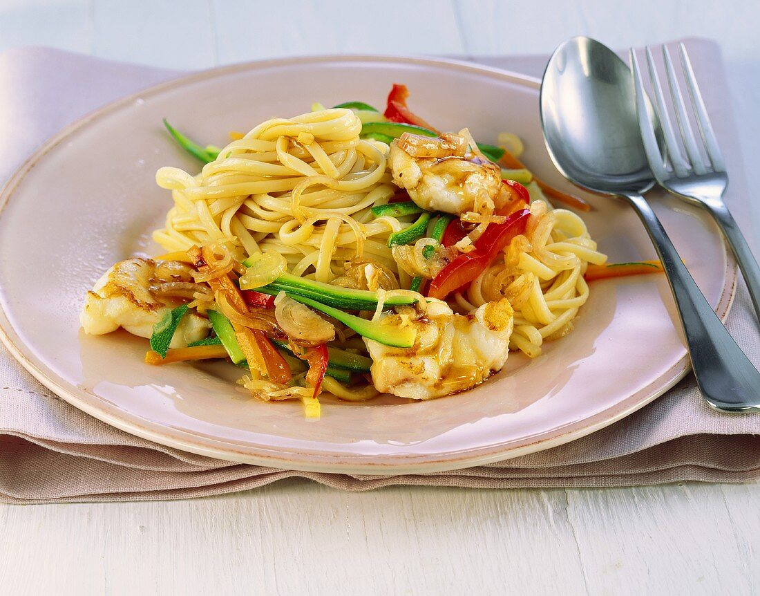 Fried linguine with monkfish