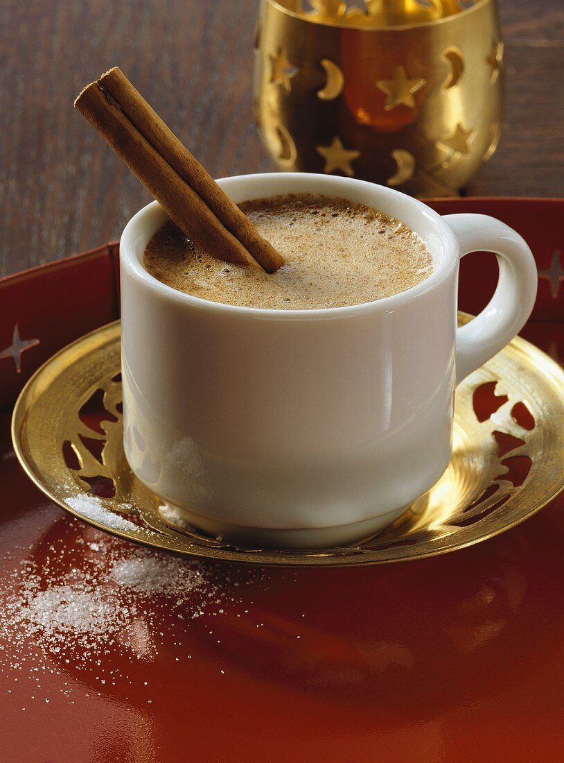 Coffee Baharat with spices and cinnamon stick