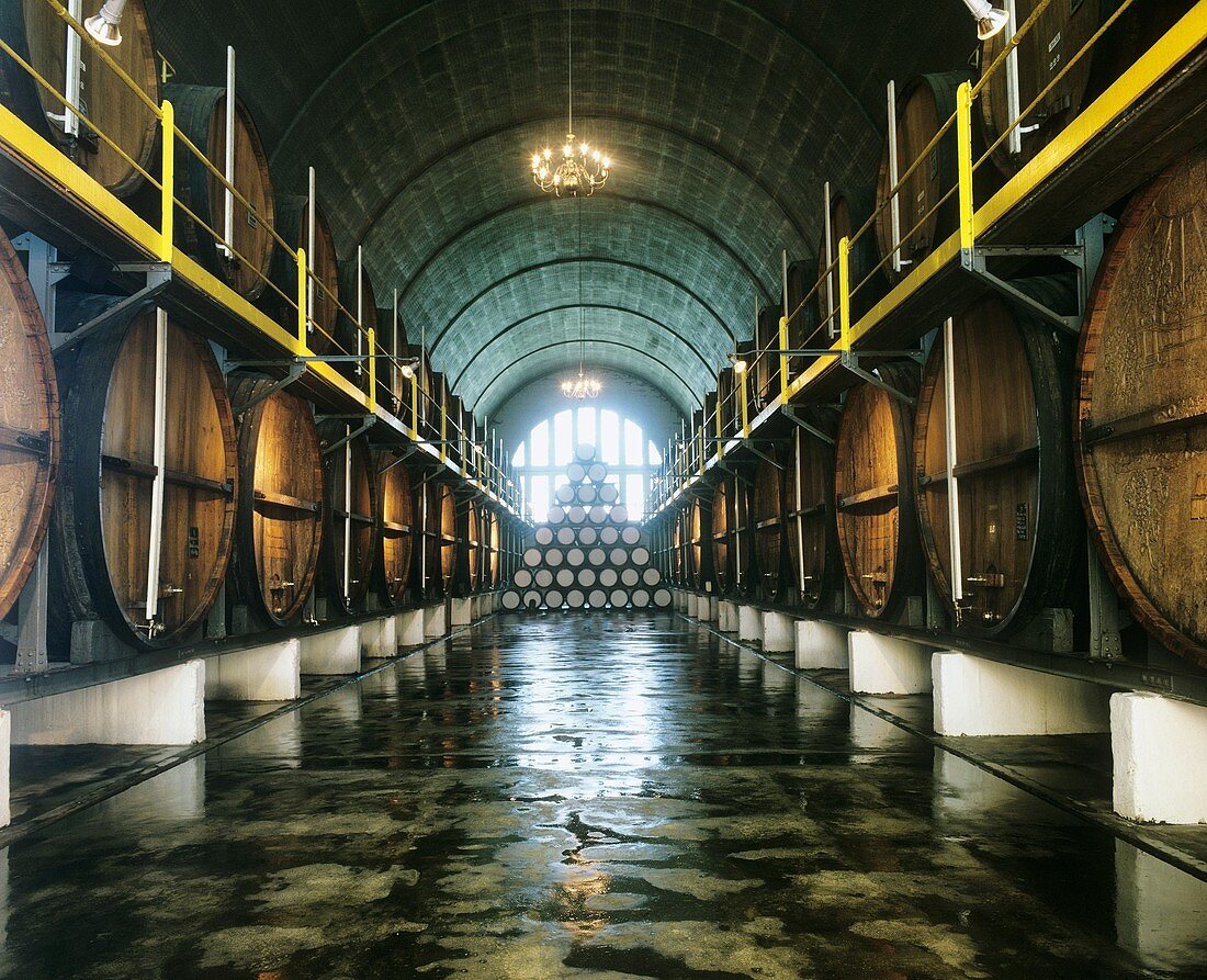 'Cathedral Cellar' at LWV headquarters, Paarl, S. Africa