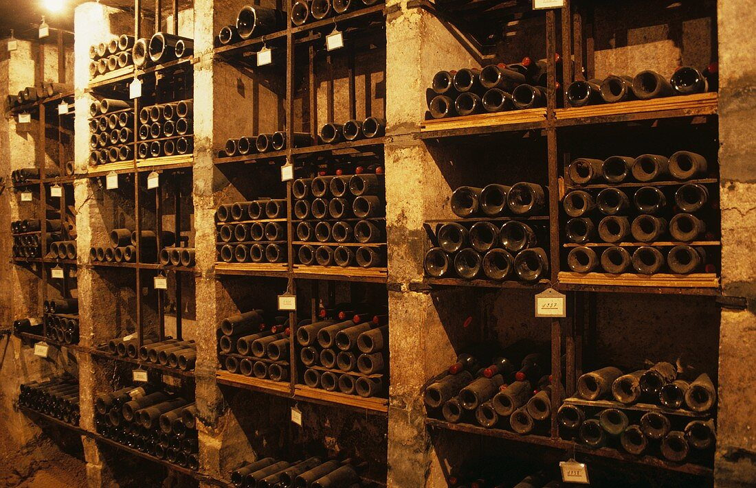 Wine bottles in cellar of Château Cheval Blanc, France