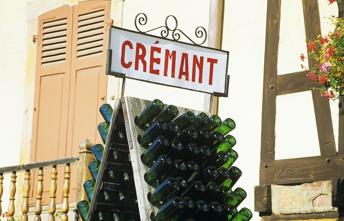 Crémant sign in Ribeauvillé, Alsace, France