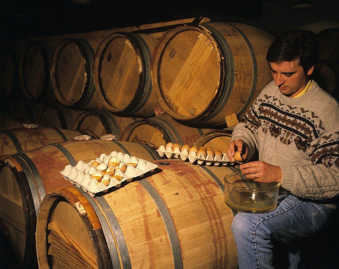 Das Klären von Rotwein mit Eiweiss, Chateau Lynch-Bages, FR