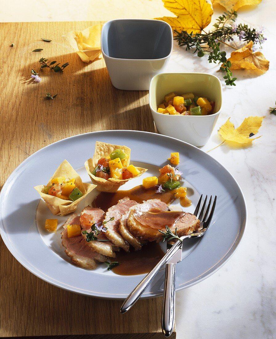 Roast duck breast with pumpkin ragout