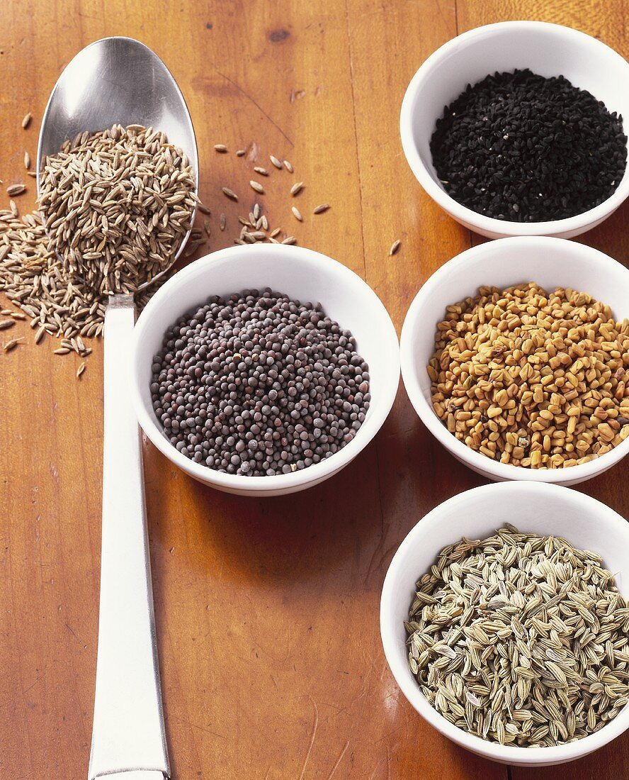 Ingredients for Panch foron (Bengali spice mixture)