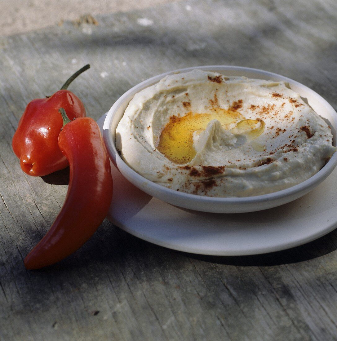 Hummus (chick-pea puree) with peppers