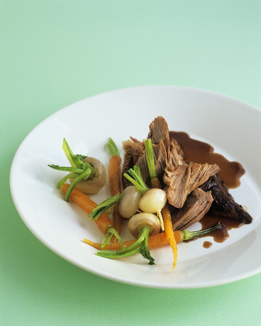 Lamb with spring vegetables and gravy