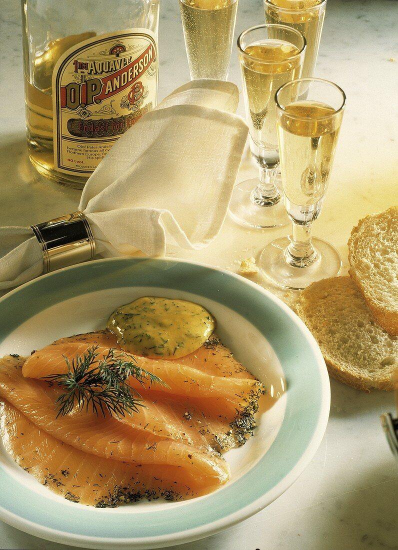Gravlax; Cured Salmon Served with Aquavit