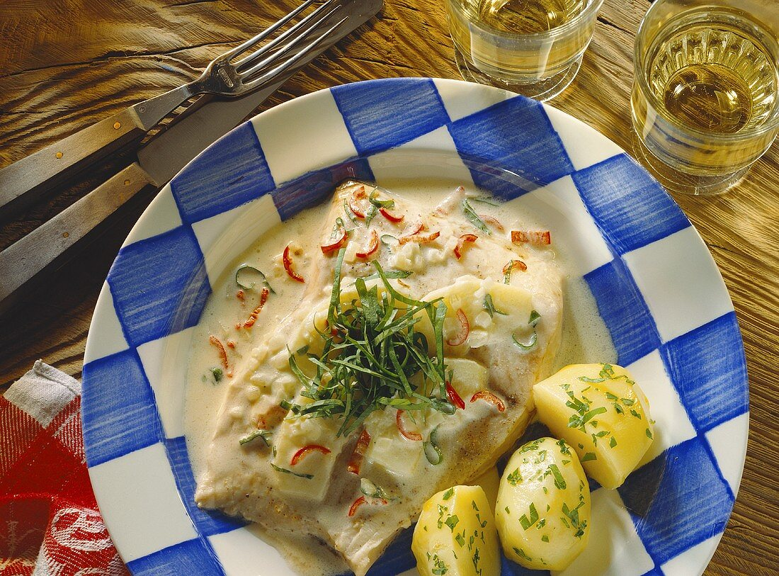 Carp in apple & mustard sauce with chili and sorrel
