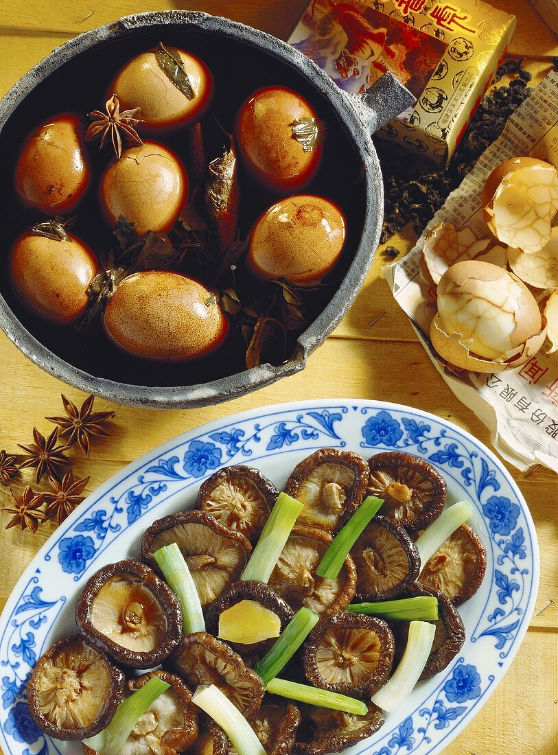 Tea leaf eggs with star anise & Tongku mushrooms with ginger