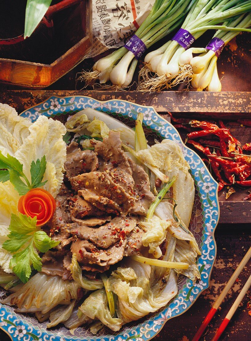 Beef with Sichuan pepper, Chinese cabbage, celery