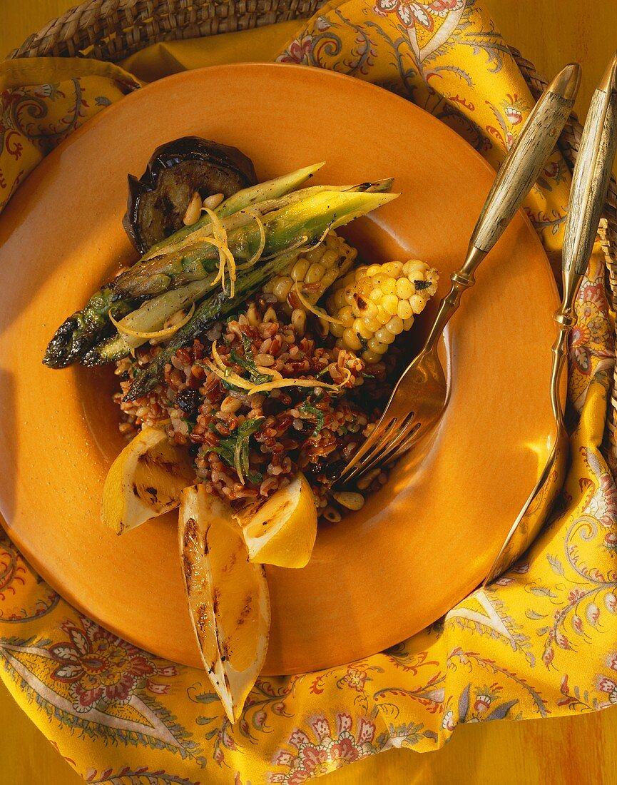 Camargue rice salad with sweetcorn & green asparagus