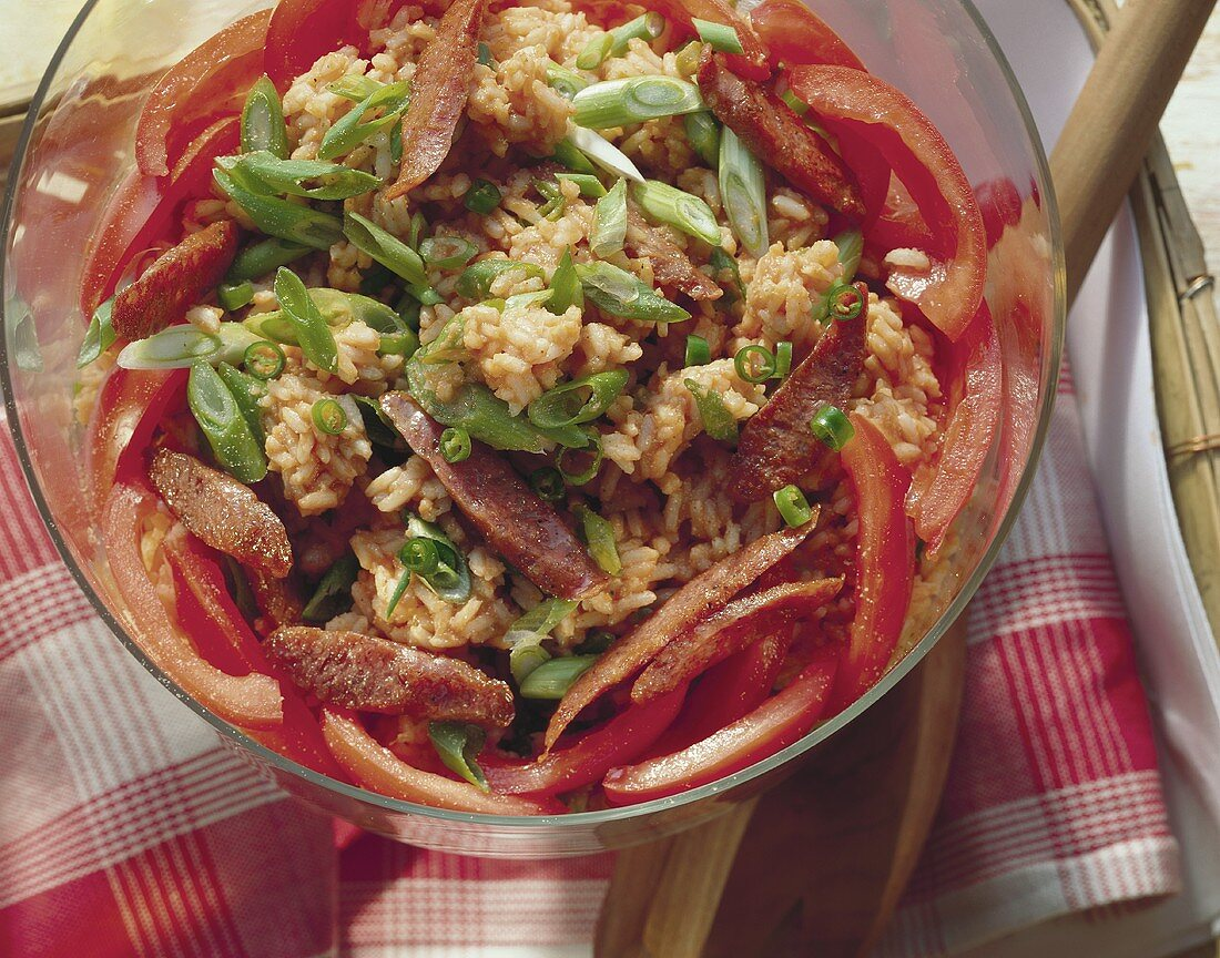 Rice salad with cabanossi and spring onions
