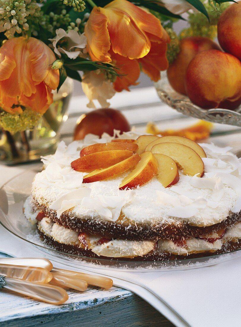 Yoghurt cake with nectarines