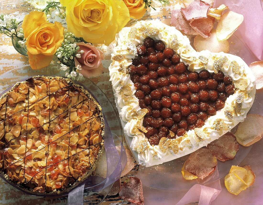 Heart-shaped cake and Florentine gateau