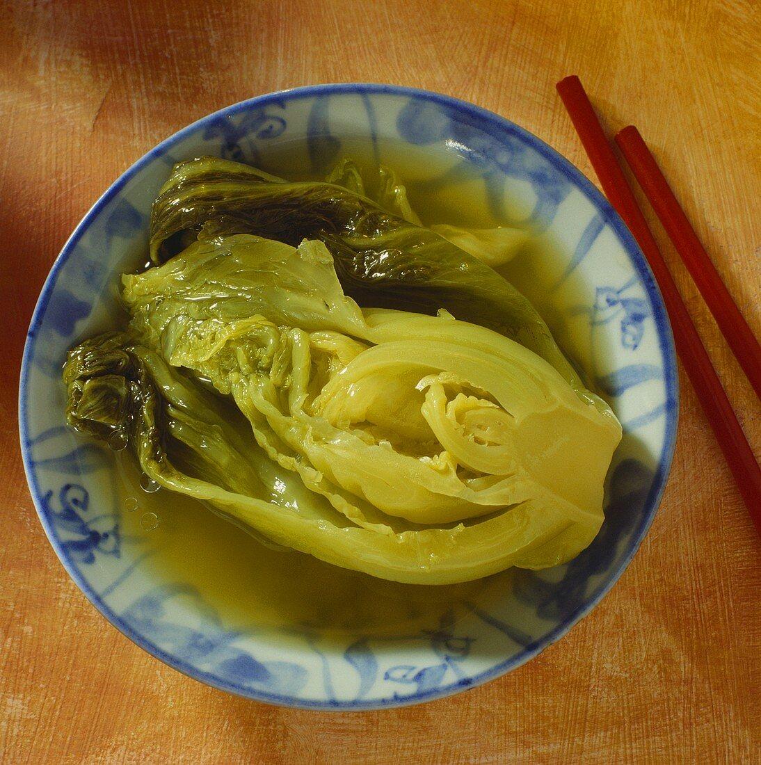 Chinese sauerkraut (pickled Chinese cabbage) in bowl
