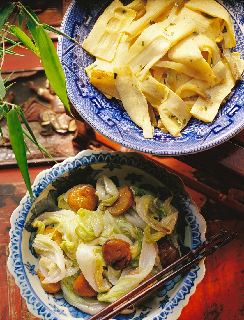 Bamboo sprouts & Zha Cai vegetables; Chinese leaf & chestnuts