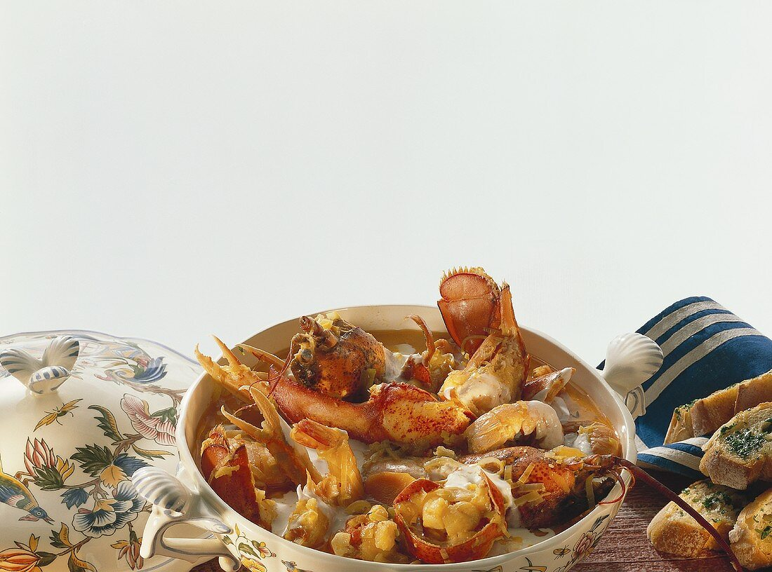 Shellfish stew with vegetables and crème fraiche