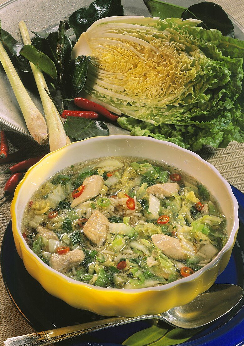 Chinese cabbage soup with chicken, rice & chili peppers