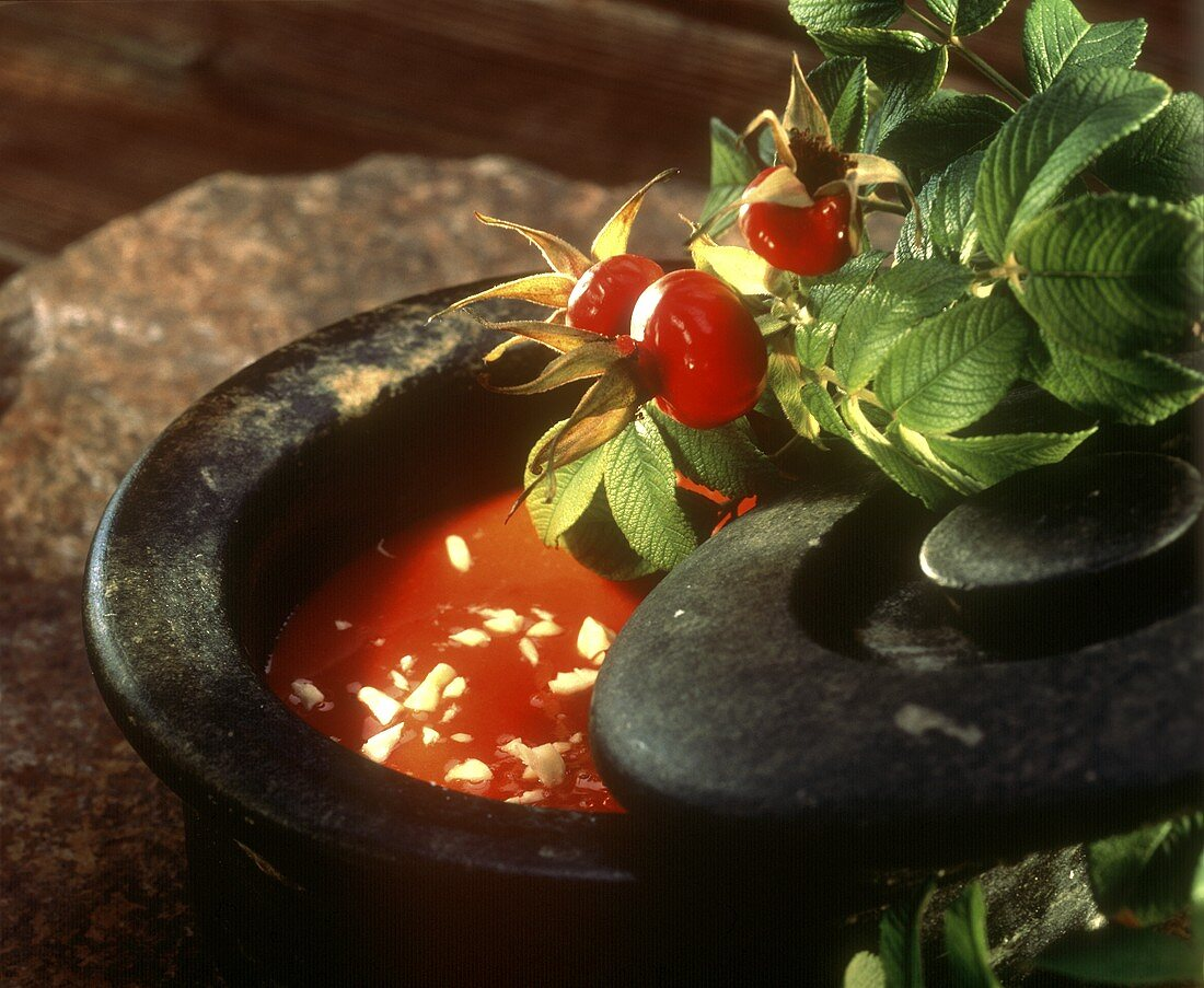 Rosehip soup with chopped almonds