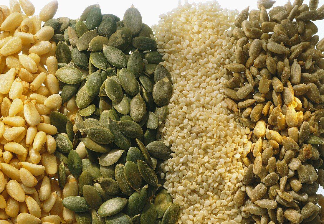 Sunflower seeds, sesame seeds, pumpkin seeds & pine nuts