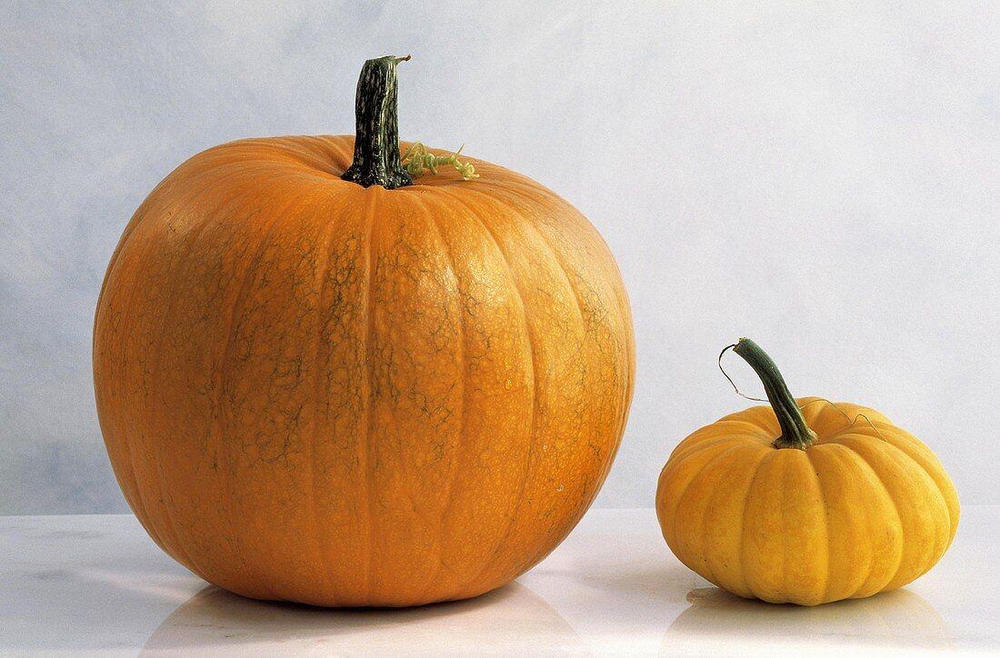 A large and a small orange pumpkin (Jack O'Lantern, Jack Be Little)