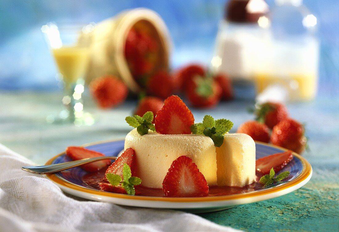 Advocaat parfait, strawberry sauce, strawberries & mint