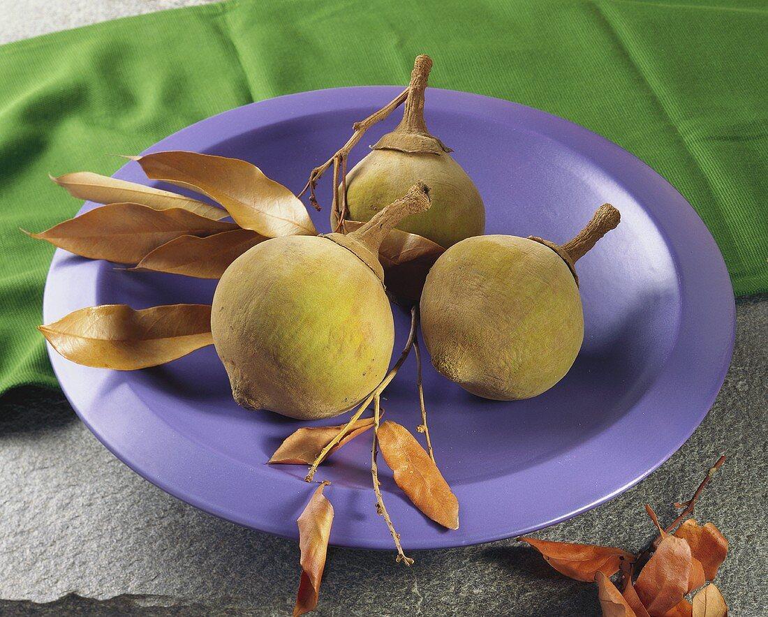 Three sapotes on a purple plate