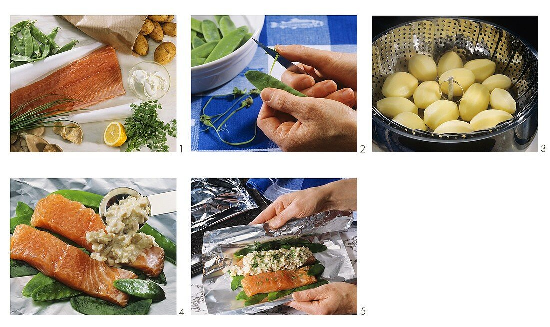 Preparing salmon fillet in foil with mangetouts