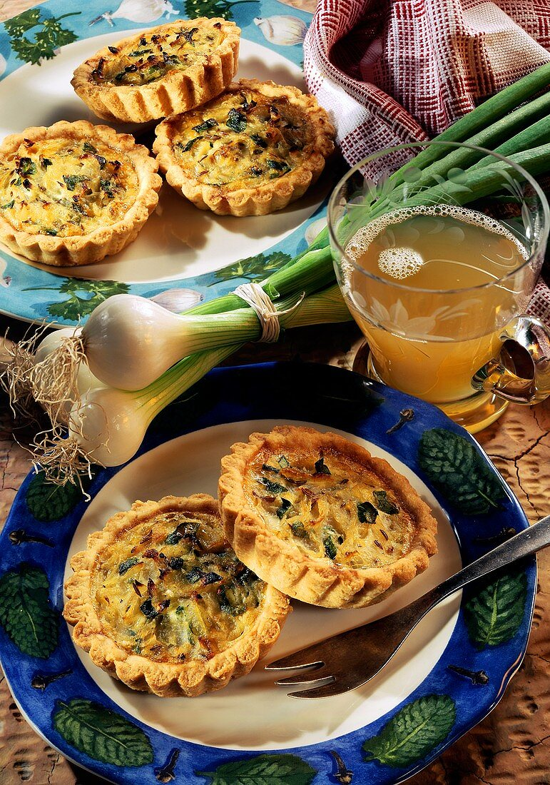 Small round spring onion quiche with caraway