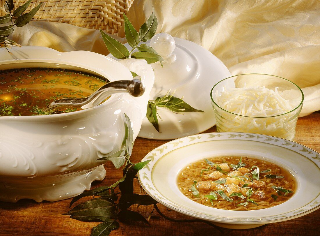 Chicken broth and onion soup with duck and grated cheese