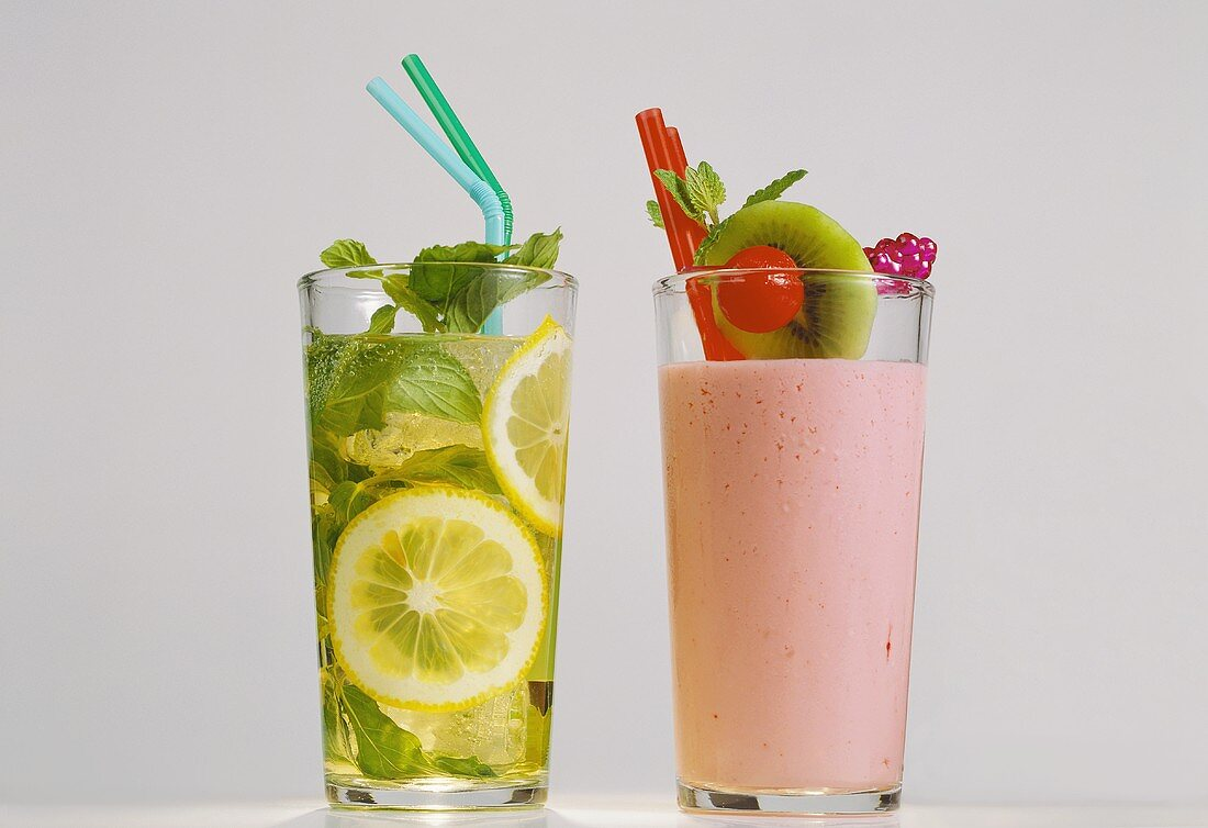 Vampire drink with blood orange juice; mint lemonade with lemon