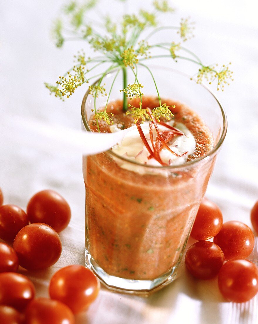 Spicy tomato & herb drink with dill, chili, blobs of yoghurt